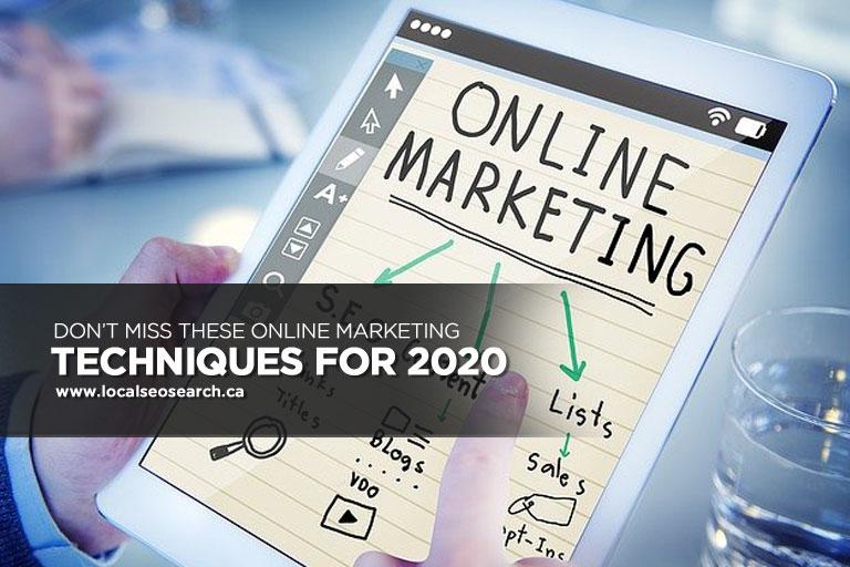 Ne Manquez Pas Ces Techniques De Marketing En Ligne Pour 2020